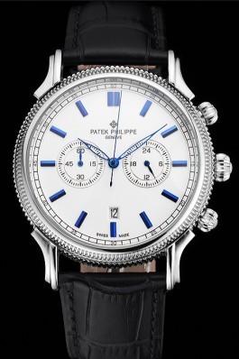 Patek Philippe Chronograph White Dial Blue Markings Stainless Steel Case Black Leather Strap Fake Patek Philippe