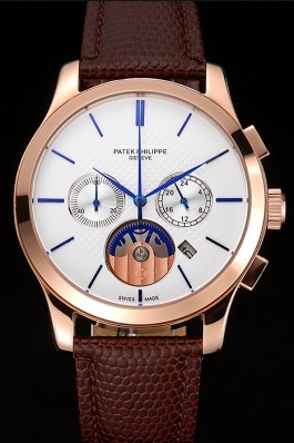 Patek Philippe Chronograph White Dial Rose Gold Case Brown Leather Strap Fake Patek Philippe