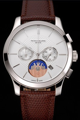 Patek Philippe Chronograph White Dial Stainless Steel Case Brown Leather Strap Fake Patek Philippe