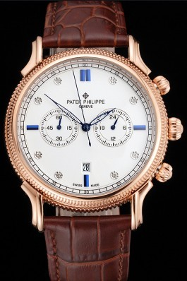 Patek Philippe Chronograph White Dial With Blue And Diamond Markings Rose Gold Case Brown Leather Strap Fake Patek Philippe
