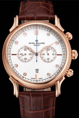 Patek Philippe Chronograph White Dial With Diamonds Rose Gold Case Brown Leather Strap Fake Patek Philippe