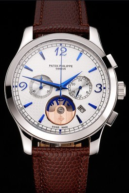 Patek Philippe Chronograph White Guilloche Dial Blue Hands Stainless Steel Case Brown Leather Strap Fake Patek Philippe