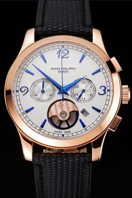 Patek Philippe Chronograph White Guilloche Dial Rose Gold Case Black Leather Strap Fake Patek Philippe