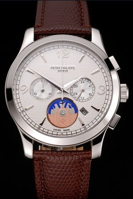 Patek Philippe Chronograph White Guilloche Dial Stainless Steel Case Brown Leather Strap Fake Patek Philippe