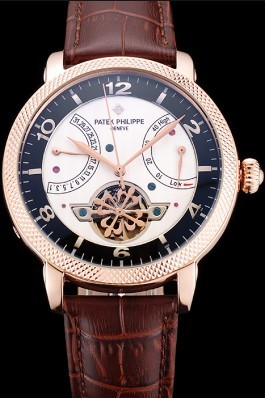 Patek Philippe Classic Tourbillon Power Reserve Black And White Dial Rose Gold Case Brown Leather Strap Fake Patek Philippe