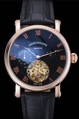 Patek Philippe Complications Moonphase Tourbillon Black Dial Rose Gold Case Black Leather Strap Fake Patek Philippe