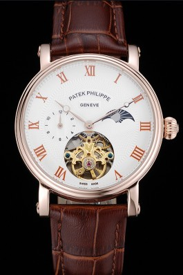 Patek Philippe Complications Moonphase Tourbillon White Dial Rose Gold Case Brown Leather Strap Fake Patek Philippe