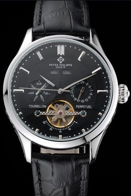 Patek Philippe Day Date Tourbillon Black Dial Stainless Steel Case Black Leather Strap 622839 Fake Patek Philippe