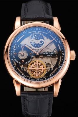 Patek Philippe Dual Time Moonphase Tourbillon Black Skeletonised Rose Gold Case Black Leather Strap Fake Patek Philippe