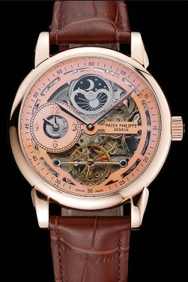 Patek Philippe Dual Time Moonphase Tourbillon Gold Skeletonised Dial Rose Gold Case Brown Leather Strap Fake Patek Philippe