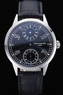 Patek Philippe Geneve Two Dial Black Dial Stainless Steel Bezel Black Leather Band 622145 Fake Patek Philippe