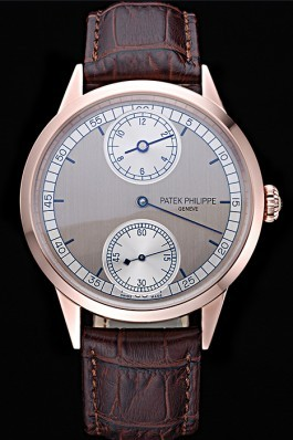 Patek Philippe Geneve Two Dial Gray Dial Rose Gold Bezel Brown Leather Band 622148 Fake Patek Philippe