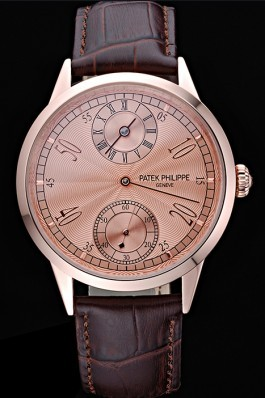 Patek Philippe Geneve Two Dial Rose Dial Rose Gold Bezel Brown Leather Band 622149 Fake Patek Philippe