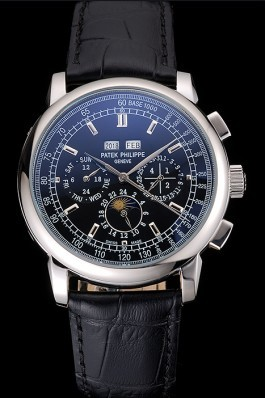 Patek Philippe Grand Complications Black Dial Black Leather Bracelet Fake Patek Philippe
