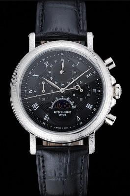 Patek Philippe Grand Complications Black Dial Engraved Silver Case Black Leather Bracelet 1454145 Fake Patek Philippe