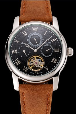 Patek Philippe Grand Complications Day Date Tourbillon Black Dial Numerals Stainless Steel Case Brown Suede Leather Strap 1453816 Fake Patek Philippe