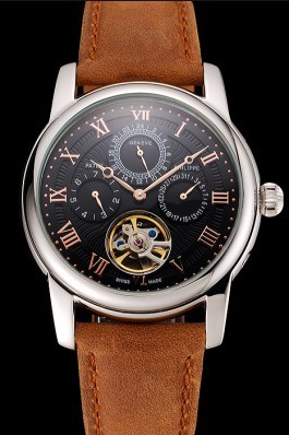 Patek Philippe Grand Complications Day Date Tourbillon Black Dial Rose Gold Numerals Stainless Steel Case Brown Suede Leather Strap 1453815 Fake Patek Philippe