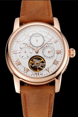 Patek Philippe Grand Complications Day Date Tourbillon White Dial Rose Gold Case Brown Suede Leather Strap 1453813 Fake Patek Philippe