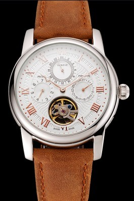 Patek Philippe Grand Complications Day Date Tourbillon White Dial Rose Gold Numerals Stainless Steel Case Brown Suede Leather Strap 1453818 Fake Patek Philippe