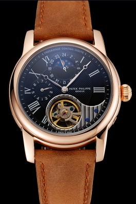 Patek Philippe Grand Complications GMT Moonphase Tourbillon Black Dial Rose Gold Case Brown Suede Leather Strap 1453821 Fake Patek Philippe