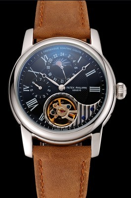 Patek Philippe Grand Complications GMT Moonphase Tourbillon Black Dial Stainless Steel Case Brown Suede Leather Strap 1453822 Fake Patek Philippe