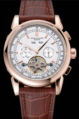 Patek Philippe Grand Complications Gold Case White Dial Brown Leather Bracelet 622259 Fake Patek Philippe