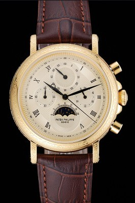 Patek Philippe Grand Complications Gold Dial Engraved Gold Case Brown Leather Bracelet 1454141 Fake Patek Philippe