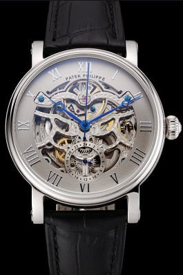 Patek Philippe Grand Complications Gray Skeleton Dial Stainless Steel Case Black Leather Strap 1453811 Fake Patek Philippe