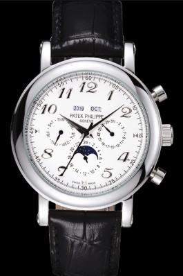 Patek Philippe Grand Complications Moon Phase White Dial Black Leather Bracelet Fake Patek Philippe