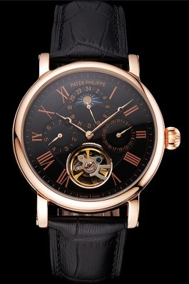 Patek Philippe Grand Complications Moonphase Perpetual Calendar Tourbillon Black Dial Rose Gold Case Black Leather Strap Fake Patek Philippe