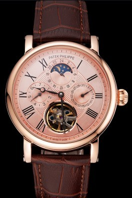Patek Philippe Grand Complications Moonphase Perpetual Calendar Tourbillon Rose Gold Case And Dial Brown Leather Strap Fake Patek Philippe