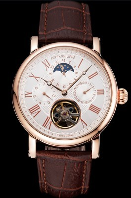 Patek Philippe Grand Complications Moonphase Perpetual Calendar Tourbillon White Dial Rose Gold Case Brown Leather Strap Fake Patek Philippe