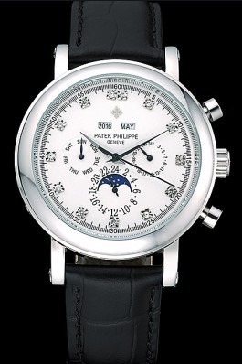 Black Leather Band Top Quality Patek Complications Black Luxury Watch 13 5036 Fake Patek Philippe