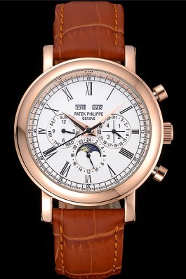 Brown Leather Band Top Quality Patek Complications Luxury Watch 9 5061 Fake Patek Philippe