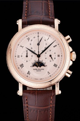 Patek Philippe Grand Complications Rose Gold Dial Engraved Rose Gold Case Brown Leather Bracelet 1454142 Fake Patek Philippe