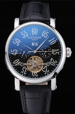 Patek Philippe Grand Complications Stainless Steel Case Black Dial Roman Numerals Black Leather Bracelet 622256 Fake Patek Philippe