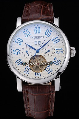 Patek Philippe Grand Complications Stainless Steel Case White Dial Roman Numerals Brown Leather Bracelet 622257 Fake Patek Philippe