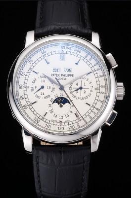 Patek Philippe Grand Complications White Dial Black Leather Bracelet Fake Patek Philippe