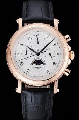 Patek Philippe Grand Complications White Dial Engraved Rose Gold Case Black Leather Bracelet 1454144 Fake Patek Philippe