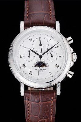 Patek Philippe Grand Complications White Dial Engraved Silver Case Brown Leather Bracelet 1454143 Fake Patek Philippe