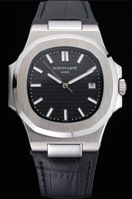 Patek Philippe Nautilus Black Dial Brushed Stainless Steel Case Black Leather Strap Bvlgari Replica Watch
