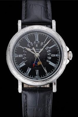 Patek Philippe Perpetual Calendar Retrograde Date Black Dial Engraved Silver Case Black Leather Bracelet 1454146 Fake Patek Philippe