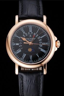 Patek Philippe Perpetual Calendar Retrograde Date Black Dial Rose Gold Case Black Leather Bracelet 1454150 Fake Patek Philippe