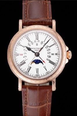 Patek Philippe Perpetual Calendar Retrograde Date White Dial Engraved Rose Gold Case Brown Leather Bracelet 1454148 Fake Patek Philippe