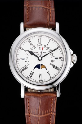 Patek Philippe Perpetual Calendar Retrograde Date White Dial Silver Case Brown Leather Bracelet 1454149 Fake Patek Philippe