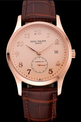 Patek Philippe Calatrava Rose Dial Rose Gold Case Brown Leather Strap 622836 Fake Patek Philippe