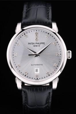 Patek Philippe Swiss Calatrava Polished Bezel Grey Dial Black Leather Strap 7659 Aaa Grade Patek Philippe Replica