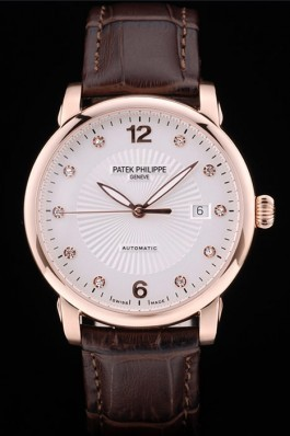 Patek Philippe Swiss Calatrava Polished Bezel White Dial Brown Leather Strap 7646 Aaa Grade Patek Philippe Replica