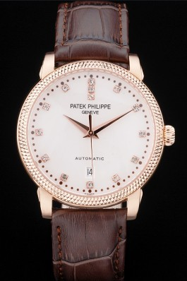 Patek Philippe Swiss Calatrava Ribbed Bezel Grey Dial Brown Leather Strap 7650 Aaa Grade Patek Philippe Replica