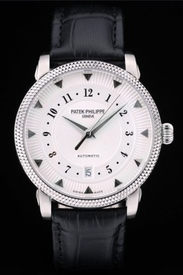Patek Philippe Swiss Calatrava Ribbed Bezel White Dial Black Leather Strap 7657 Aaa Grade Patek Philippe Replica